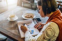 Slapp fokus Den unga kvinnan i glasögon sitter i kafé på tabellen som arbetar Affärskvinnan ser diagram, grafer Arkivbilder
