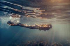 slapp undervattens- sikt för blåa färger Royaltyfria Foton