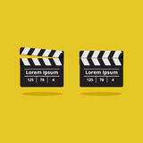 Slapstick movie. Movie clapper on a yellow background Royalty Free Stock Photography