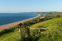 Slapton lixa Devon com costa e lagoa da praia fotografia de stock royalty free