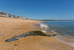 Slapton Sands beach Devon with clear blue sea and sand stock photo