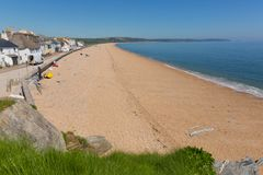 Slapton Sands beach Devon UK. Slapton Sands beach Devon England UK from Torcross in direction of Dartmouth. A beautiful spring day with clear blue sky stock photography
