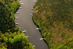 Slapy. Water reservoir Slapy, Czech Republic. Aerial view Royalty Free Stock Photo