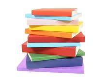 Slarvig bunt av färgrika häftad bokböcker royaltyfri bild