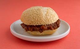 Slarviga joe smörgås på en liten platta arkivbild