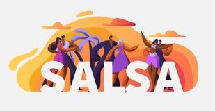 Slasa党舞蹈家字符印刷术海报模板 激情古巴舞蹈 拉丁人妇女探戈和仑巴舞艺术 向量例证
