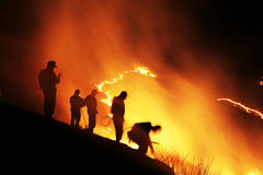Slash and burn. Flames from a prescribed fire Royalty Free Stock Image