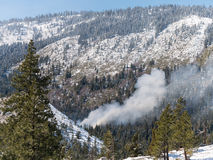 Slash burn fire, Tahoe National Forest Stock Photography