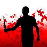 The Slasher. Concept image featuring a silhouetted violent figure Stock Image