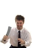 Slashing through business man with meat cleaver. Nut case business man armed with meat cleaver Royalty Free Stock Image