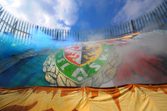 Slask Wroclaw Fans with huge flag Royalty Free Stock Photos
