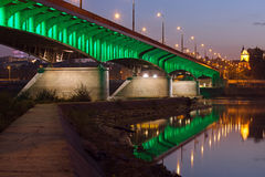 Slasko-Dabrowski Bridge at Dusk in Warsaw Stock Photo