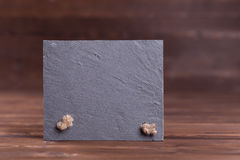 Slat plate. Slate plate sign background with copyspace stock photography