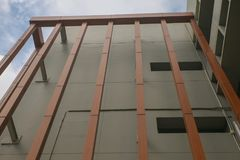 Slat wall of the  modern building. At thailand Royalty Free Stock Image