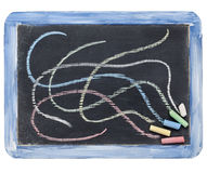 Slate blackboard and chalk Stock Photo