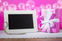 Slate blackboard gift pink Stock Photography