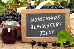 Slate blackboard with the words: Homemade Blackberry Jelly Stock Photo