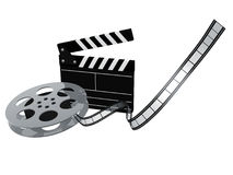 Slate board. And film reel  on white background Royalty Free Stock Photos