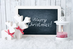 Slate board with Christmas decoration Stock Photos