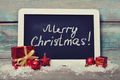 Slate board with Christmas decoration Stock Photography