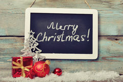 Slate board with Christmas decoration Royalty Free Stock Image