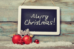 Slate board with Christmas decoration Royalty Free Stock Photo