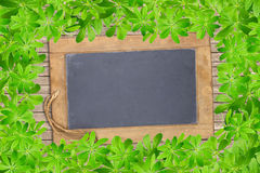 Slate board framed with woodruff Stock Photos
