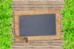 Slate board framed with woodruff Stock Image