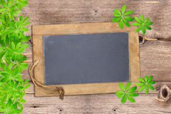 Slate board framed with woodruff Stock Images