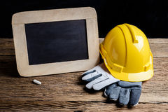 Slate board and protective clothing Royalty Free Stock Image