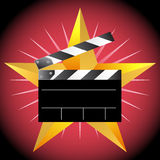Slate Board with Star. Movie slate board with star and red background Stock Photos