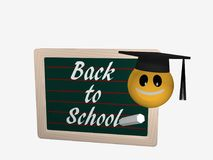 Slate board with the text Back to School. Next to it is an emoti. Con with a high school hat. 3d rendering isolated on white Stock Images