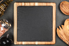 Slate board in a wooden frame Royalty Free Stock Photo