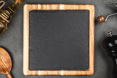 Slate board in a wooden frame Stock Photos