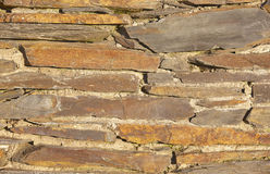 Slate bricks with concrete wall detail background in warm tone Stock Photos