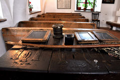 Slate chalkboards. BRASOV - JUNE 7: The first Romanian school in the country is located in Brasov. Built in 1495, the school contains original objects like slate Stock Photography
