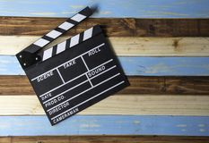 Slate for cut film placed on wooden floor. Slate for cut film placed on wooden floor royalty free stock photo