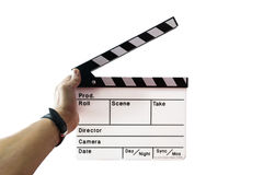 Slate on hand for the filming. Man's hand holding a slate on hand for the filming Royalty Free Stock Photo