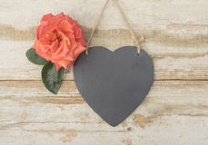 Slate heart with a rose Stock Photo