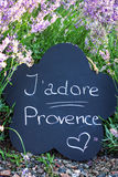 Slate with the inscription. J'adore Provence near the lavender flowers in the garden Royalty Free Stock Image