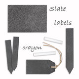 Slate labels with crayon. Different labels with crayon, plants plugs and price tag Stock Images