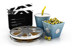 Slate, movie reel, popcorn and cup of cola. 3d illustration of film slate, movie reel, popcorn and cup of cola Royalty Free Stock Images