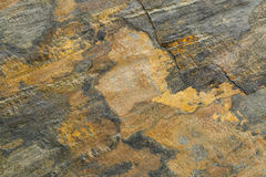 Slate rock texture. Flat, green, yellow and gray slate rock with abstract like landscape pattern Stock Photography