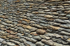 Slate roof with many old stones Stock Images