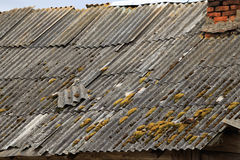 Slate roof of a village house with stove heating Royalty Free Stock Photos