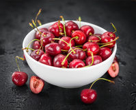 Slate slab with Cherries Royalty Free Stock Images