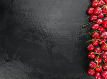 Slate slab with Cherries Royalty Free Stock Photography
