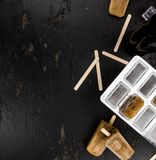 Slate slab with cola popsicles homemade Royalty Free Stock Images