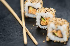 Slate slab with some Sushi (selective focus). Slate slab with some Sushi (selective focus; close-up shot Royalty Free Stock Photos