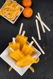 Slate slab with Tangerine Popsicles selective focus Stock Image